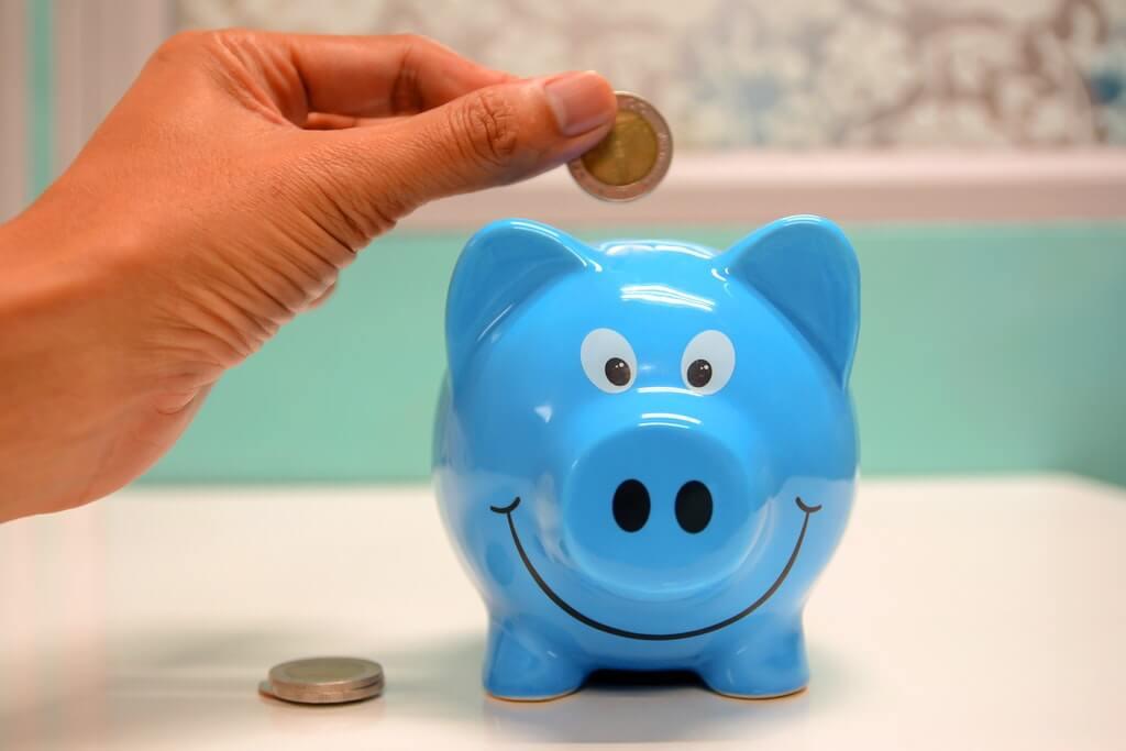На фото копилка в виде голубой свиньи.